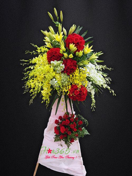 Hoa khai trương đẹp, kệ hoa hồng, lẵng hoa khai trương đẹp, kệ hoa khai trương đẹp
