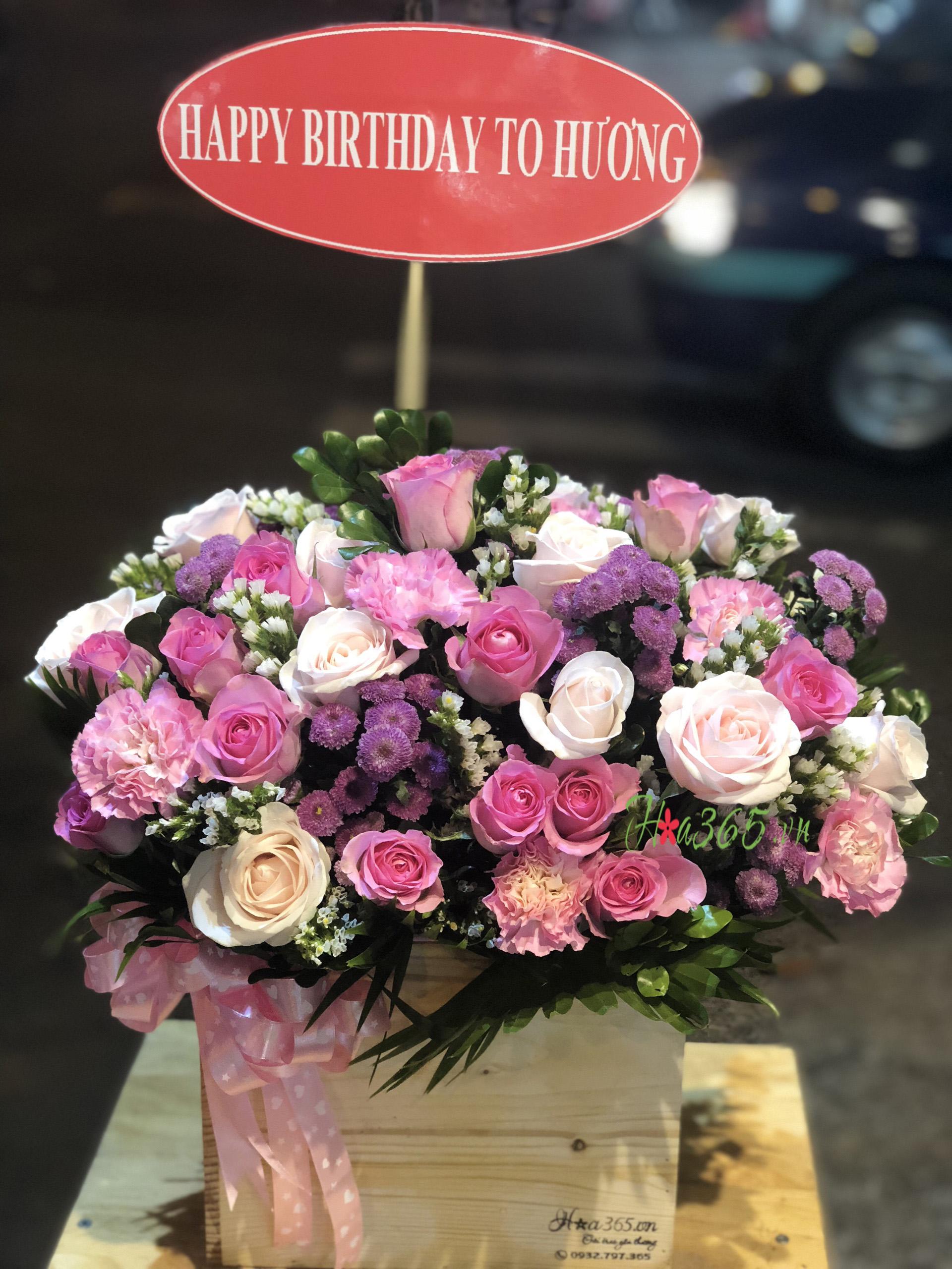 hộp hoa gỗ , hộp hoa sinh nhật đẹp, hộp hoa chúc mừng khai trương
